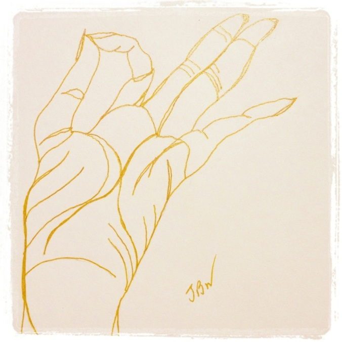 Chin Mudra (self) – Gold Ink #25 (Series 3)